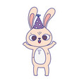 happy birthday cute little rabbit with party hat vector image vector image