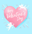 happy valentine day heart shape and cupid vector image