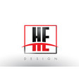 he h e logo letters with red and black colors and vector image