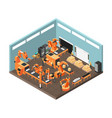 isometric factory workshop with conveyor line vector image vector image