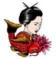 japanese geisha feeding vector image vector image