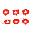 like icon set red colour bubble thumbs up vector image