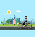 man on bicycle with city skyscrapers on vector image vector image