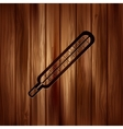 Medical thermometer web icon Wooden texture vector image vector image