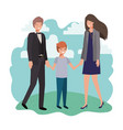 parents couple with son in landscape avatar vector image vector image
