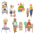Parents with children cartoon icons collection vector image vector image
