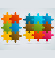 parts of colorful puzzles set of 9 6 pieces vector image