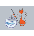 Red cat catches fish from aquarium eps10 vector image vector image