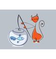 Red cat catches fish from aquarium eps10 vector image