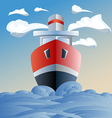red ship in the sea clouds and waves vector image vector image