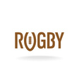 Rugby word with U like a ball shape logo template vector image vector image