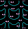 seamless black cat head with magic colorful vector image