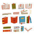 set book icons in flat hand drawn design vector image