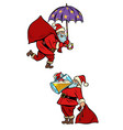 set collection christmas santa claus magical and vector image