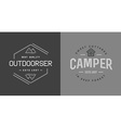 Set of Camping Camp Elements With Fictitious Names vector image vector image