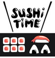 sushi time cartoon banner template with lettering vector image vector image