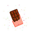 sweet dark brown chocolate cartoon icon in vector image