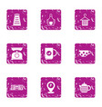 tea ceremony icons set grunge style vector image vector image