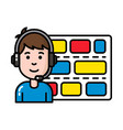 worker in control tower with headset and schedule vector image vector image