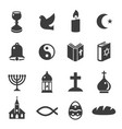 World religious symbols black icons set isolated