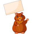woodchuck holding groundhog day sign vector image