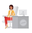 Business woman office manager at computer desk vector image