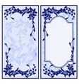 Set of two vintage blue invitations with lilies vector image
