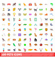 100 pets icons set cartoon style vector image vector image