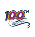 100 years anniversary logo template with a shadow vector image vector image