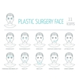 11 line plastic surgery face icons Flat design vector image vector image