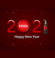 2021 happy new year with soda bottle and caps vector image vector image