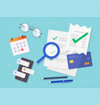 accounting office concept flat lay table vector image vector image