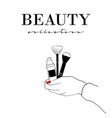 beauty cosmetics banner women s hand with vector image