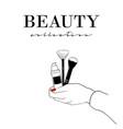 beauty cosmetics banner women s hand with vector image vector image