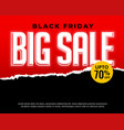 black friday sale and discount red banner vector image