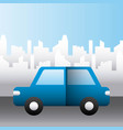blue car vehicle transport city family protection vector image