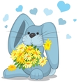 Blue rabbit with daisy flowers vector image