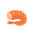 boiled shrimp without head in bright red shell vector image vector image