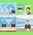 breaking news tv speakers reporters announcers vector image