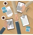 businessman shake hands after the signed contract vector image vector image