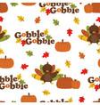 cartoon autumn turkey pattern vector image vector image