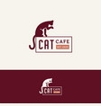 cat cafe logo vector image vector image