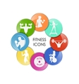 colored fitness club icons vector image