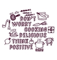 Cooking poster positive think and objects ink vector image vector image
