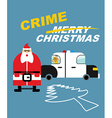 Crime Christmas Santa Claus in handcuffs Deer sits vector image vector image