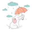 cute elephant holds an umbrella vector image