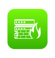 database and firewall icon digital green vector image vector image