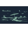 Drawn landscape seaside night beach boat vector image