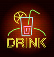 drink logo neon light icon realistic style vector image vector image