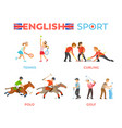 english sport people running and playing games vector image vector image